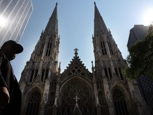 NEW YORK, NY - SEPTEMBER 08: St. Patrick's Cathedral, the seat of the Roman Catholic Archdiocese of New York, is viewed on September 8, 2015 in New York City. Just in time for the arrival of Pope Francis later this month to hold mass at the church, a three-year restoration project at St. Patrick's is largely completed. The project at one of America's most popular churches cleaned the exterior of the church, repaired panels and stained glass windows and restored the large bronze doors at the Fifth Avenue entrance. St. Patrick's held its first Mass in 1879. (Photo by Spencer Platt/Getty Images)