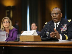 WASHINGTON, DC - SEPTEMBER 16: Gen. Lloyd Austin III (R), commander of U.S. Central Command, and Under Secretary of Defense for Policy Christine Wormuth testify before the Senate Armed Services Committee about the ongoing U.S. military operations to counter the Islamic State in Iraq and the Levant (ISIL) during a hearing in the Dirksen Senate Office Building on Capitol Hill September 16, 2015 in Washington, DC. Austin said that slow progress was still being made against ISIL but there have been setbacks, including the ambush of U.S.-trained fighters in Syria and the buildup of Russian forces in the country. (Photo by Chip Somodevilla/Getty Images)