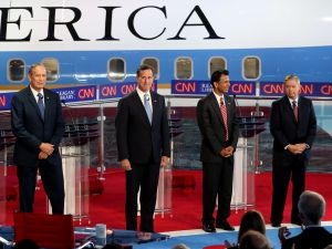 The four Republicans square off. (Photo: Justin Sullivan/Getty Images)