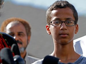 Ahmed Mohamed has a gained celebrity support after being arrested for bringing a homemade clock to a Texas high school. (Photo by Ben Torres/Getty Images)