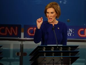 SIMI VALLEY, CA - SEPTEMBER 16: Republican presidential candidate Carly Fiorina take part in the presidential debates at the Reagan Library on September 16, 2015 in Simi Valley, California. Fifteen Republican presidential candidates are participating in the second set of Republican presidential debates. (Photo by Justin Sullivan/Getty Images)