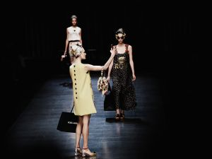 Models take selfies on the runway at Dolce & Gabbana (Photo: Vittorio Zunino Celotto/Getty Images).