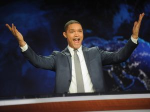 "hosts the ""The Daily Show with Trevor Noah"" Premiere at The Daily Show with Trevor Noah Studio on September 28, 2015 in New York City."