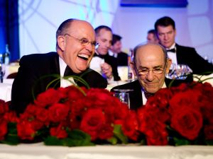 WASHINGTON - OCTOBER 18: Former New York mayor Rudolph W. Giuliani (left) jokes with New York Yankee legend Yogi Berra at the National Italian American Foundation's 33rd Anniversary Awards Gala on October 18, 2008 in Washington, DC. The event takes place in Washington each year and celebrates the achievements of Italian Americans. (Photo by Brendan Hoffman/Getty Images)