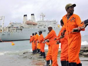 An undersea fiber optic cable brings broadband Internet to East Africa in 2009.