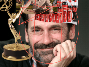 The Emmy's, reimagined in Jon Hamm's head. (Getty, AMC)