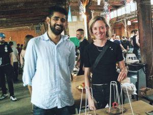 Surya Mattu and Tega Brain, at Internet Yami-Ichi. (Photo: Brady Dale)