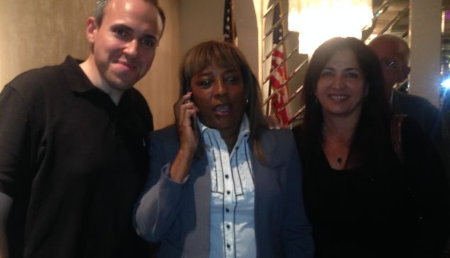 Democratic candidate Pamela Harris flanked by Councilman Mark Treyger and State Senator Diane Savino.
