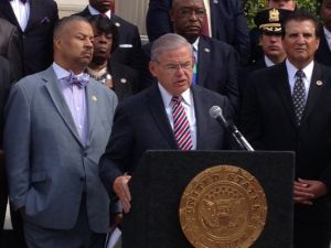 Payne, Menendez and Joe D in front of East Orange City Hall.