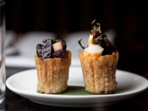 Quih Pie Tee: Hen of the Woods Mushrooms, Shrimp, Jicama, Foie Gras, Beet, and Pear