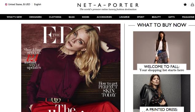 The Net-A-Porter homepage (Photo: Net-A-Porter.com).