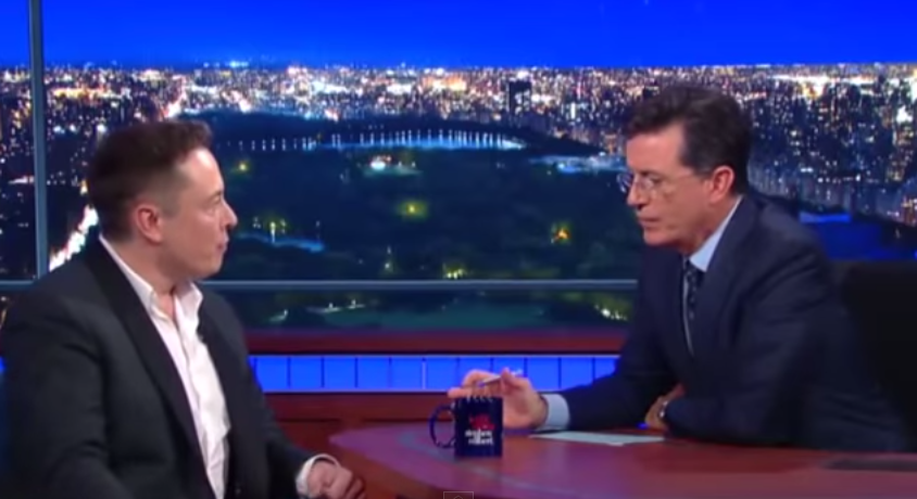 Elon Musk and Stephen Colbert Talked Nuclear Bombing Mars on Last Night's 'Late Show'