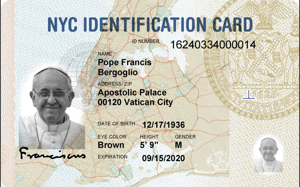 The Pope Has a New York City Municipal ID Now