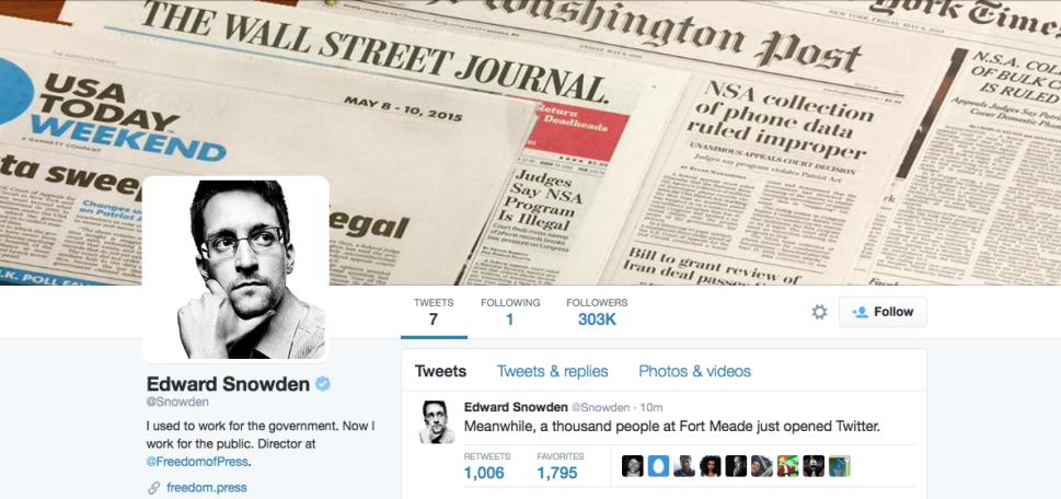 Edward Snowden Joins Twitter, Only Follows NSA