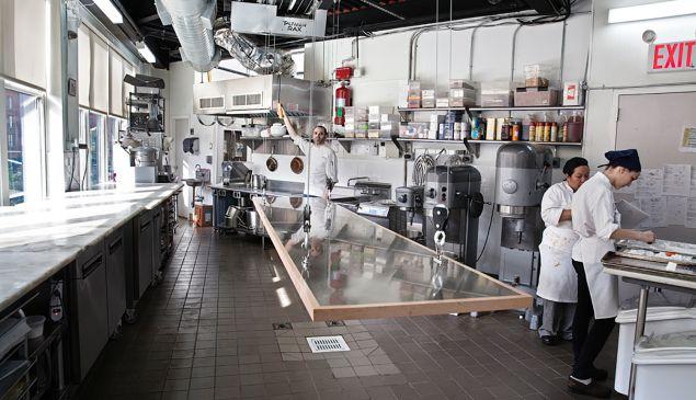 The second-floor dining room of Dominique Ansel's new bakery. (Photo: Celeste Sloman for Observer)