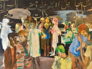 Salman Toor, Rooftop Party with Ghosts 1 (Triptych), 2015. (Photo: Courtesy Aicon Gallery)
