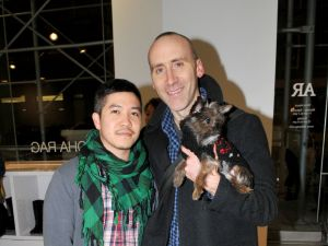 Thakoon Panichgul with his partner, Russ Spina, and their Yorkie Chi Hua Hua mix, Stevie, are moving to $2.7 million TriBeCa loft. (JONATHON ZIEGLER/Patrick McMullan)