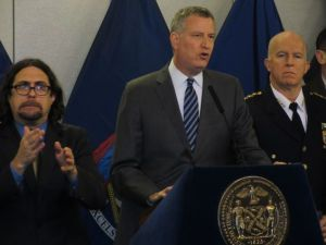 Mayor Bill de Blasio at the Office of Emergency Management (Photo: Will Bredderman for Observer).