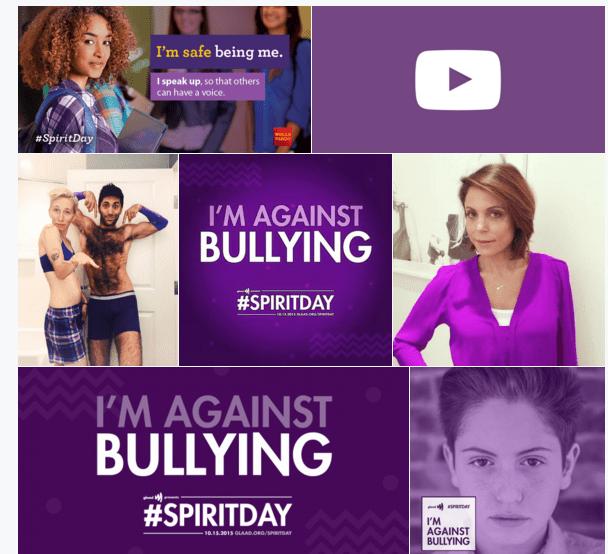 Celebs and Brands 'Go Purple' on Social Media for Spirit Day
