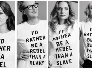 Many on Twitter thought it was a poor decision to have the stars of Suffragette photographed wearing this T-shirt. (Photo: Twitter)