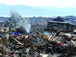 A fishing boat lies among the tsunami rubble at Otsuchi town in Iwate. (Photo: TOSHIFUMI KITAMURA/AFP/Getty Images)