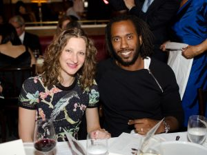 Artist Rashid Johnson with Drawing Center Senior Curator Claire Gilman.