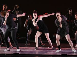 "Fall for Dance Festival Dorrance Dance ""Myelination"" (World Premiere) Performers: Michelle Dorrance (centre), and members of the company New York City Center New York, N.Y. October 8, 2015 Photo Credit: Julieta Cervantes"
