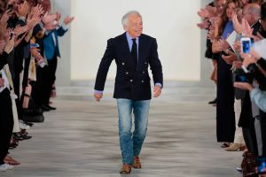 NEW YORK, NY - SEPTEMBER 17: Designer Ralph Lauren greets the audience at the finale of the Ralph Lauren Runway Spring 2016 New York Fashion Week: The Shows at Skylight Clarkson Sq on September 17, 2015 in New York City. (Photo by Randy Brooke/WireImage)
