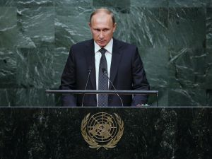 NEW YORK, NY - SEPTEMBER 28: President of Russia Vladimir Putin addresses the United Nations General Assembly on September 28, 2015 in New York City. World leaders gathered for the 70th session of the annual meeting. (Photo by John Moore/Getty Images)