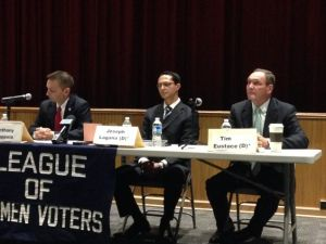 Cappola (left), Lagana and Eustace at the LD38 debate.