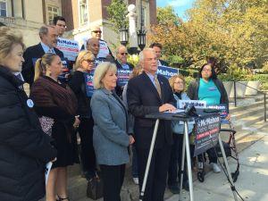 Former congressman Michael McMahon at a press conference on Staten Island. (Photo: Jillian Jorgensen for Observer)