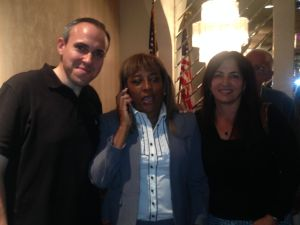 Pam Harris with Councilman Mark Treyger and State Senator Diane Savino. (Photo: Will Bredderman for Observer)