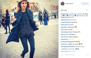 Sarah Rutson in her beloved Elizabeth & James sweater (Photo: Instagram/SarahRutson).