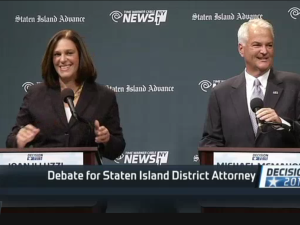 Joan Illuzzi and Michael McMahon, who are running for Staten Island district attorney, during a NY1/Staten Island Advance debate. (Screengrab: NY1)