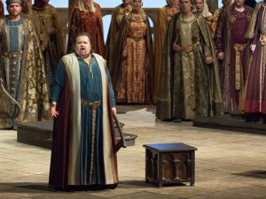 Peter Mattei as Wolfram, Johan Botha in the title role, Günther Groissböck as Landgraf Hermann and Eva-Maria Westbroek as Elisabeth in Wagner's Tannhäuser. (Photo: Marty Sohl/Metropolitan Opera)