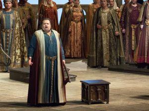 Peter Mattei as Wolfram, Johan Botha in the title role, Günther Groissböck as Landgraf Hermann and Eva-Maria Westbroek as Elisabeth in Wagner's Tannhäuser. (Photo: Marty Sohl/Metropolitan Opera)