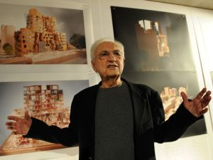 "Canadian architect Frank Gehry unveils his latest structrual entity in Sydney on December 16, 2010. Gehry, 81, said the 150 million USD business school at Sydney's University of Technology, would ""generate some questions"" but he was confident the wrinkly tree-house design would ultimately be embraced. The 11-storey building, which will begin construction in 2012 on the university's existing campus, will be Gehry's only Australian design. AFP PHOTO / Torsten BLACKWOOD (Photo credit should read TORSTEN BLACKWOOD/AFP/Getty Images)"