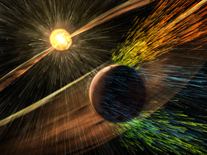 Artist's rendering of a solar storm hitting Mars and stripping ions from the planet's upper atmosphere. (Photo: NASA/GSFC)