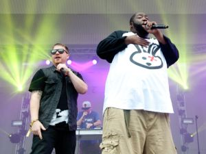 CHICAGO, IL - AUGUST 03: (L-R) El-P and Killer Mike of Run The Jewels perform during 2014 Lollapalooza at Grant Park on August 3, 2014 in Chicago, Illinois. (Photo by Erika Goldring/FilmMagic)