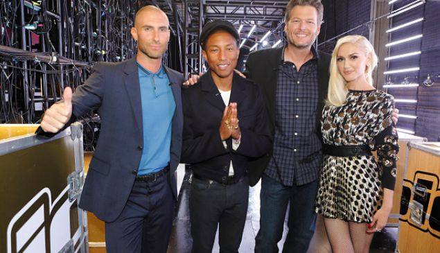 "THE VOICE -- ""Battle Rounds"" -- Pictured: (l-r) Adam Levine, Pharrell Williams, Blake Shelton, Gwen Stefani -- (Photo by: Trae Patton/NBC)"