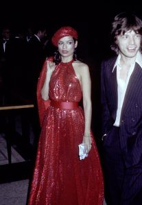 Bianca Jagger in an iconic dress (Photo: Ron Galella/WireImage).
