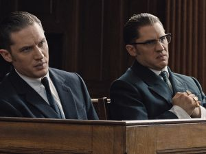 Tom Hardy, at left and right, in Legend.