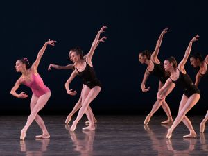 Miami City Ballet dancers—Patricia Delgado in pink—in Balanchine's Symphony in Three Movements.