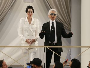 Kendall Jenner and Karl Lagerfeld take a bow (Photo: Patrick Kovarik/AFP/Getty Images).
