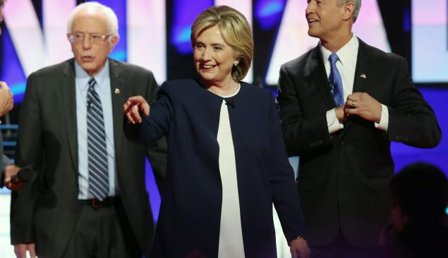 The three democratic presidential candidates still standing, from their last debate, as we head into the second Democratic debate—because nobody ever lets Jim Webb speak. (Photo: Joe Raedle/Getty Images)