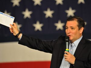 DES MOINES, IA-October 31: Republican presidential candidate Sen. Ted Cruz (R-TX), speaks at the Growth and Opportunity Party, at the Iowa State Fair in Des Moines, Iowa, Saturday October 31, 2015. With just 93 days before the Iowa caucuses Republican hopefuls are trying to shore up support amongst the party. (Photo by Steve Pope/Getty Images)