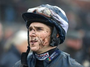 EXETER, ENGLAND - NOVEMBER 03: A muddy Harry Skelton at Exeter racecourse on November 03, 2015 in Exeter, England. (Photo by Alan Crowhurst/Getty Images)