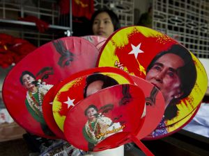Fans with portraits of Myanmar opposition leader Aung San Suu Kyi ROMEO GACAD/AFP/Getty Images)