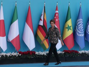 ANTALYA, TURKEY - NOVEMBER 15: Brazilian President Dilma Rousseff arrives during the official welcome ceremony on day one of the G20 Turkey Leaders Summit on November 15, 2015 in Antalya, Turkey. World leaders will use the summit to discuss issues including, climate change, the global economy, the refugee crisis and terrorism. The two day summit takes place in the wake of the massive terrorist attack in Paris which killed more than 120 people. (Photo by Chris McGrath/Getty Images)