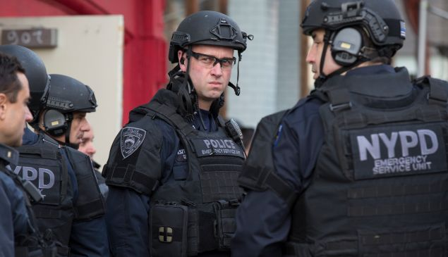 New York City Police officers following an active shooter drill on Kenmare St. on November 22, 2015 in New York City. The drill, in cooperation with the Department of Homeland Security, simulated an active shooter situation at the Bowery subway station. (Photo: Michael Graae/Getty Images)